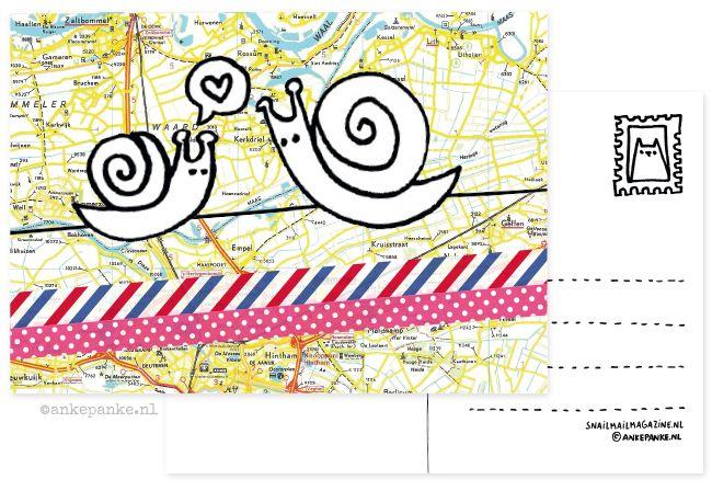 Promotional postcard design for Snailmail Shop (webshop) by http://ankepanke.nl