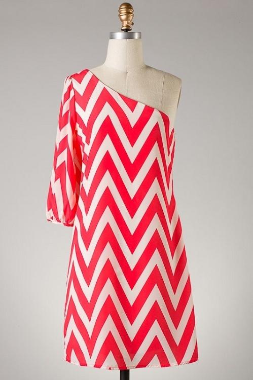 Chevron One Shoulder Dress