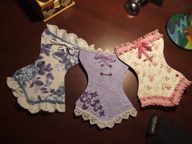 Seriously cute corsets for topping a card-these would be perfect for lingerie shower invite or card.