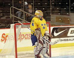 Kim Martin Hasson, maybe one of the greatest goal keeper that the Swedish ice hockey team ever had. At two times she has been awarded as the best female goal keeper in the world. She also has several silver and bronze medals from both the OS as well as from the World Championships. A pretty awesome girl, that is!