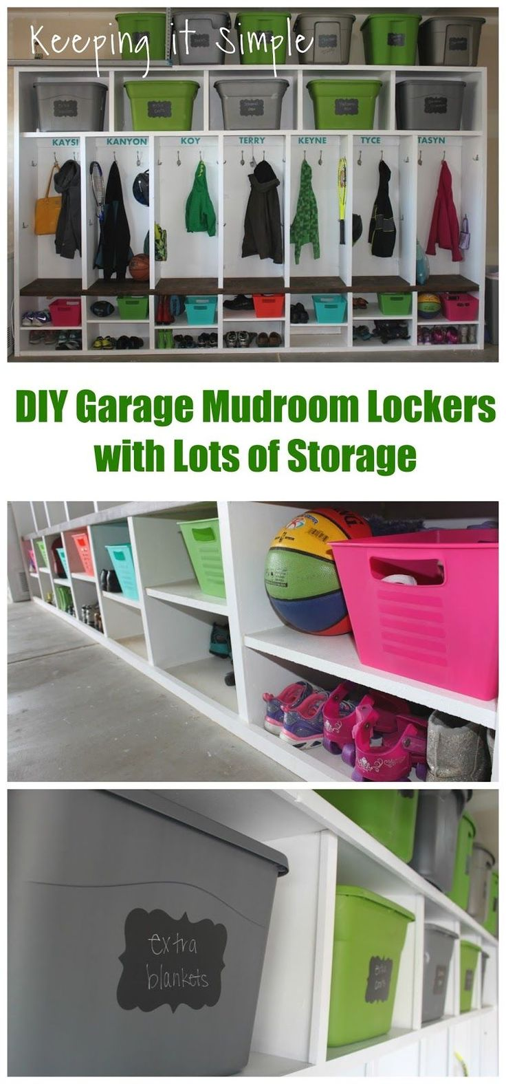 Garage garage organization via a bowl full of lemons the white bins - Diy Garage Mudroom Lockers With Lots Of Storage For Totes And Containers
