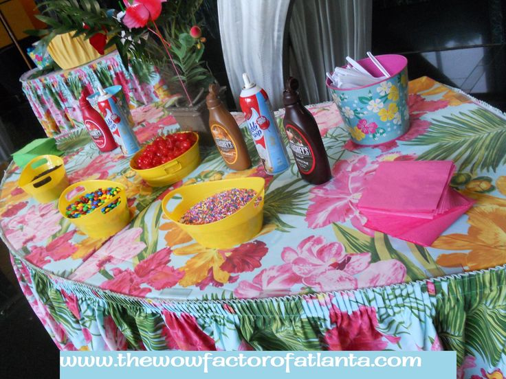 The WOW! Factor of Atlanta has been a favored ice cream caterer in the metro Atlanta area for over 20 years! Our fresh and premium ingredients and professional friendly staff make every ice cream social that we cater a hit! Choose from our many themes (like this Luau theme) and menu options, including sno cones, Italian Ice, and complimentary items like hot cobbler, pie, and cookies. #IceCreamSocial #TenantAppreciation #EmployeeAppreciation