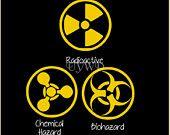 Vinyl Lettering - Biohazard, Radioactive Waste & Chemical Hazard symbols  available on Etsy.com/shop/useyourwordsdarling