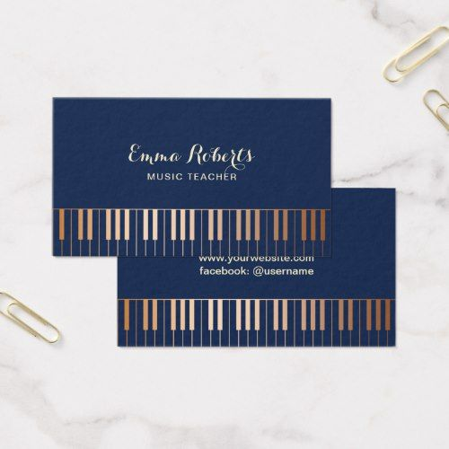 48 best music business cards images on pinterest carte de visite music teacher piano keys navy blue gold business card reheart Images