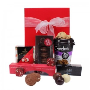$39.00 - The perfect indulgence for chocolate lovers: this hamper offers the most unique of chocolate flavours. #giftbox #macadamias #choclatechip #coconut #cherry #strawberries