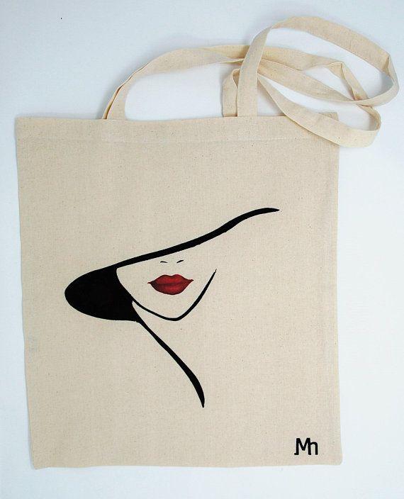 "Tote bag ""Lady fashion"", cotton bag, shoulder bag, shopping bag, reusable bag, shopper bag, canvas bag, hand painted bag"