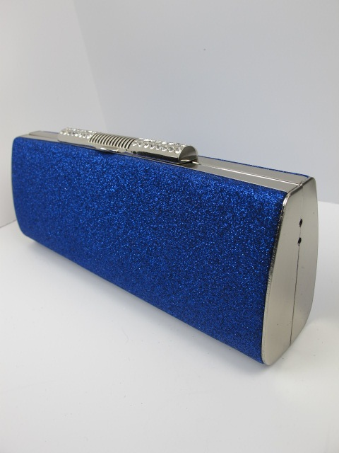 Cobalt Blue Sparkling Glitter Clutch Evening Occasion Bag