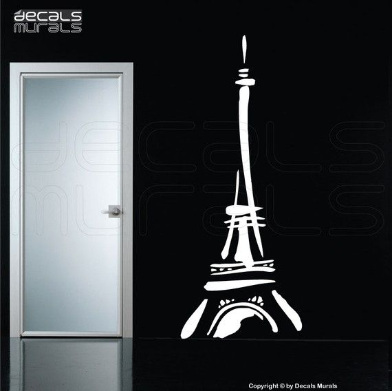 Wall decals ABSTRACT EIFFEL TOWER Vinyl art surface graphics interior decor by Decals Murals (32x80) via Etsy