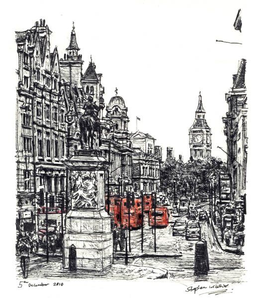 View of whitehall from trafalgar square drawings and paintings by stephen wiltshire mbe