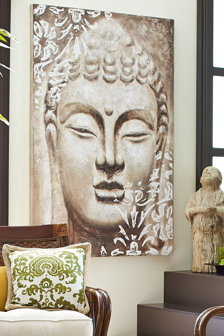 As Buddhism traveled along the Silk Road from India to Asia, the Buddha's likeness has taken many forms. Resembling the several hundred statues at Borobudur in Indonesia, said to be one of the great cultural achievements of humanity, this particular painting from Pier 1 is an applaudable achievement in its own right.