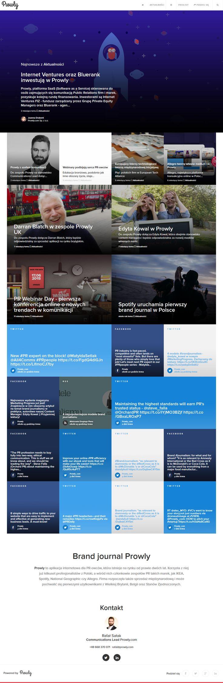 Nowoczesny i przejrzysty schemat podstrony. Zmieniające się grafiki. Publikacja najnowszych artykułów i newsów z życia firmy. Łatwy kontakt z osobą odpowiadającą za kontakt z mediami. Integracja z social media.