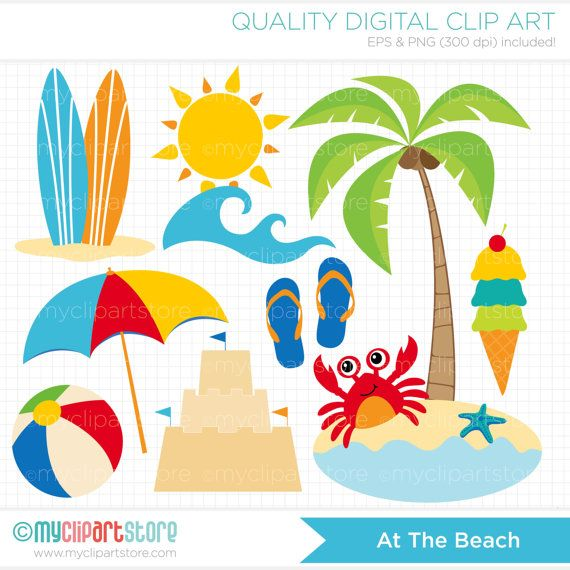 Summer Clipart / A Day At The Beach Clipart / Digital Clipart - Instant Download