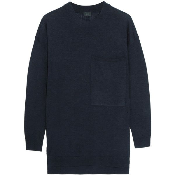 Joseph Oversized merino wool sweater (1.095 RON) ❤ liked on Polyvore featuring tops, sweaters, navy, joseph sweater, tunic style tops, ribbed top, stripped sweater and relaxed fit tops