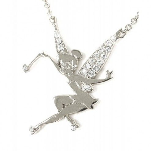 Disney Couture Platinum Plated Crystal Flying Tinkerbell Necklace