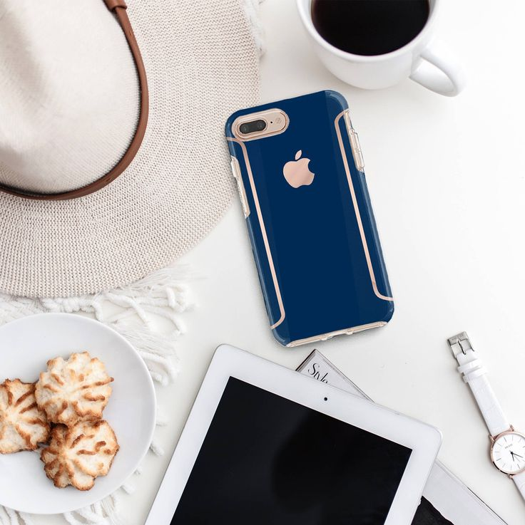 Navy blue iphone case and rose gold otterbox symmetry