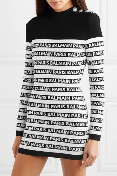 10784f13 Balmain   Button-embellished striped intarsia stretch-knit mini dress    NET-A-PORTER.COM