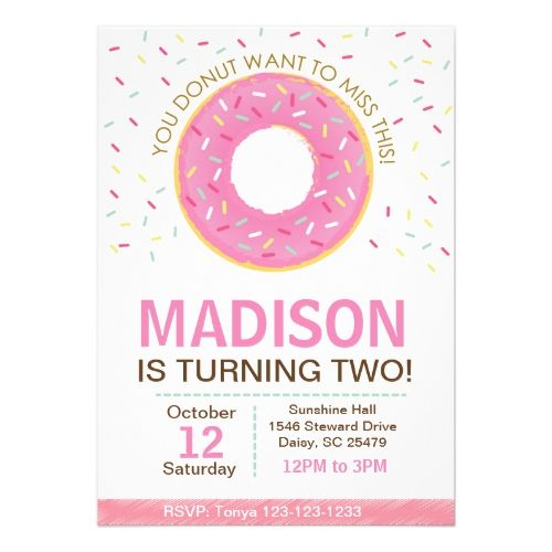 512 best donut birthday party images on pinterest donut birthday pink donut birthday invitation stopboris Images