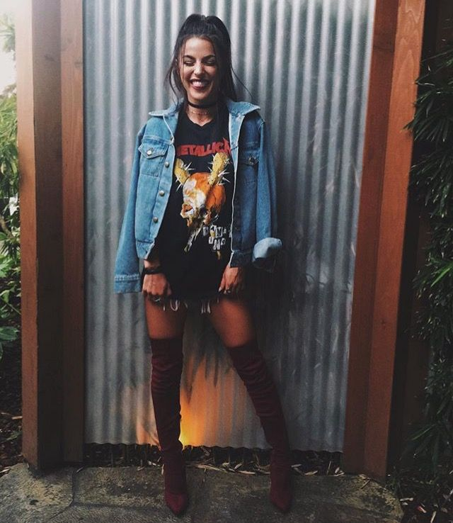 Thigh highs. Band t. Denim jacket