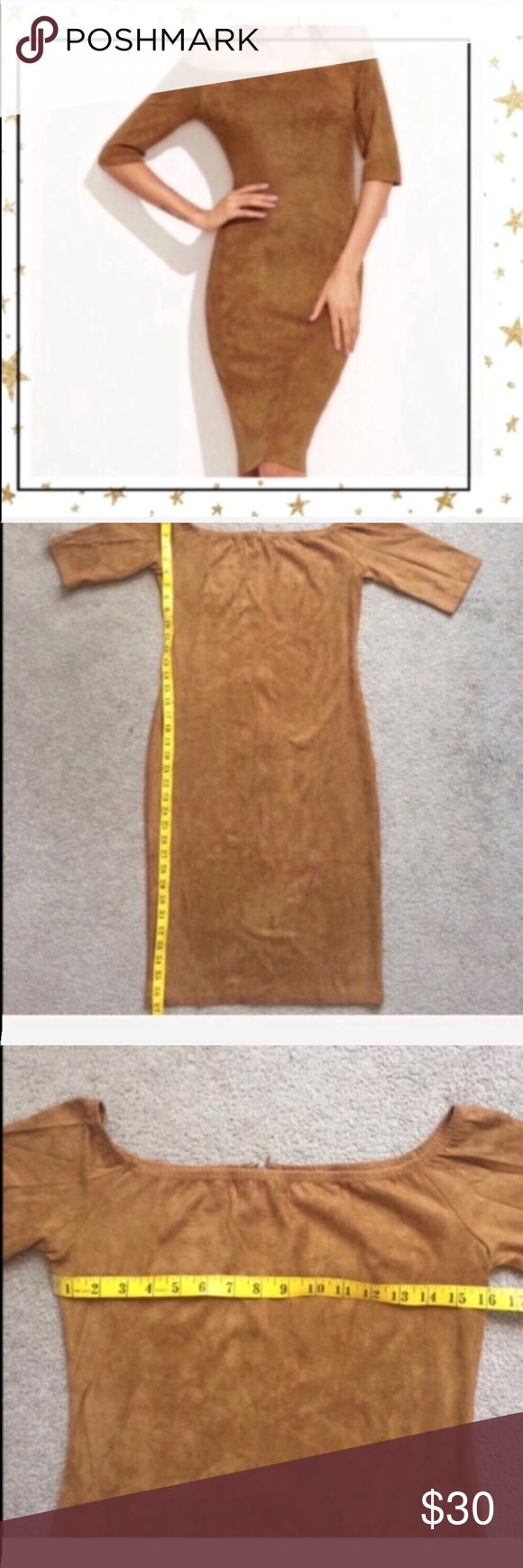 """Off-shoulder camel bodycon dress (CR23K9P) New without tag. Off shoulder pencil dress. Very stylish and comfy and soft. Half sleeve . Total length is 37"""", bust 32"""", hips 34"""".  Offers welcome. Dresses Midi"""