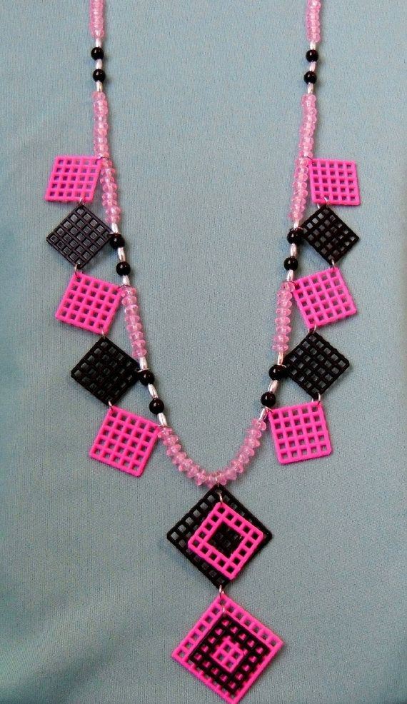Plastic Canvas Necklace - Pink and Black