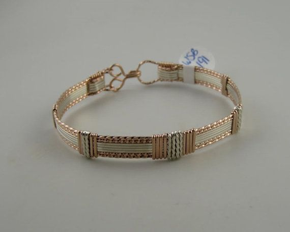 WSB-0191 14k Rose Gold Filled and Sterling Silver Bangle