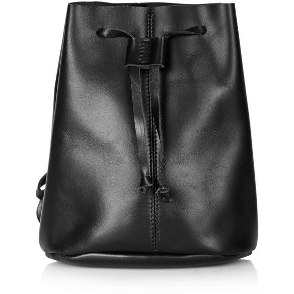 TOPSHOP Mini Leather Backpack (3.840 RUB) ❤ liked on Polyvore featuring bags, backpacks, black, mini leather backpack, black backpack, leather bags, leather knapsack and miniature backpack