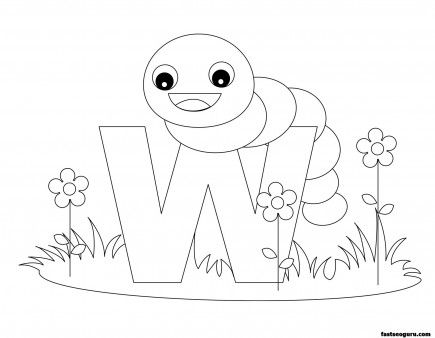 Printable Animal Alphabet worksheets Letter W is for Worm - Printable Coloring Pages For Kids