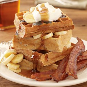 nice: Fun Recipe, Bananas Waffles, Favorit Recipe, Breakfast, Wish Lists, Candy Bacon, Bad, Nom Nom, Bacon Recipe