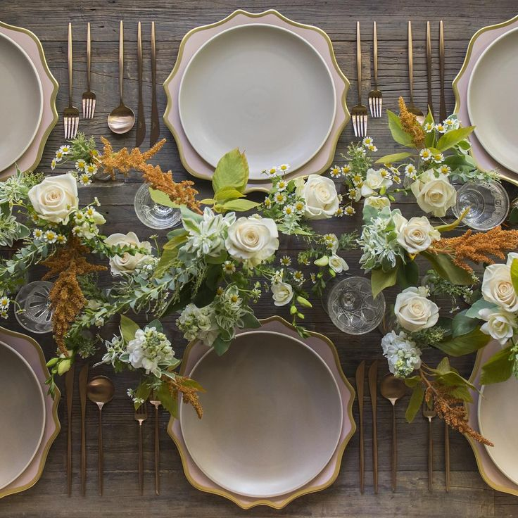 Anna Weatherley Chargers in Desert Rose + Heath Ceramics in French Grey + Rose Gold Flatware + Early American Pressed Glass Goblets   Casa de Perrin 3x3