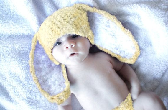 Check out 3 to 6m Yellow Baby Bunny Hat, Crochet Bunny Baby Hat Yellow White Bunny Ears, Baby Shower Gift Flopsy Rabbit Infant Hat Photo Prop on babamoon