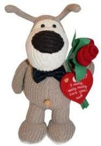 "£16.99 - Boofle Medium Standing Plush In A Bow Tie  Boofle 10"" Medium Plush Toy. Boofle is a snugglesome pup that is loveable and cuddly and a best friend for everyone. Wearing a bow tie and holding roses with a heart shaped tag that says ""I really, really, really, love you!"""