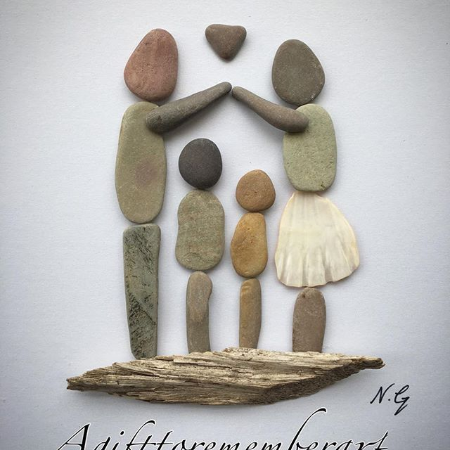 """Shelter of our love"" #agifttorememberart #pebbleart #family #love #makersgonnamake #etsy #etsuseller #australia #driftwood #shell #familyoffour #craft #handmade #gift #frame #madebyme #art #artwork #unique #roomdecor #interiordesign #instaart #instaphoto #kids #mothersday #housewarminggift #blessed #stones #nature #recycledart"