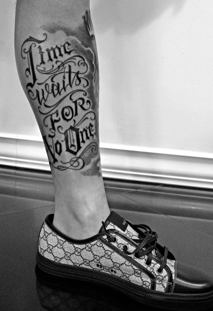 Lower leg guys traditional sleeve tattoos - Time Waits For No One