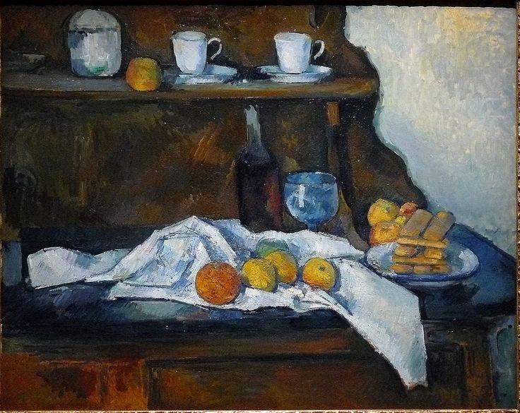 """CEZANNE,1877-79 - Le Buffet - Still Life, The Buffet (Budapest) - 0  -  TAGS : details détail détails detalles painting paintings peinturepaintings """"Paul Cézanne"""" """"Paul Cezanne"""" Cezanne Cézanne """"Still life"""" """"Nature morte"""" Budapest Hongrie Hungary """"Nature morte"""" citrons citron lemon lemons orange oranges nappe """"nappe blanche"""" """"white cloth"""" chiffon cloth bleu blue tasse cup sucrier """"sugar bowl"""" buffet knife fruit food pomme apple apples glass verre dessert biscuits"""