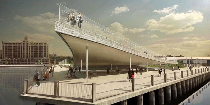 BIG unveils sweeping shell for pier 6 of brooklyn bridge park