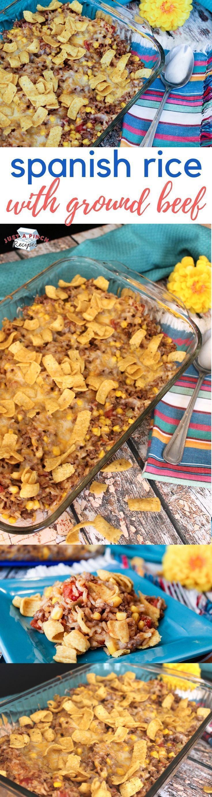 Easy spanish rice recipe! This is an easy, quick and economical dinner recipe that packs a big punch of flavor. #casserole #spanishrice #dinnertime #easyrecipe