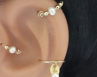 Zilveren kraakbeen oorbel  Beaded Helix Earring  Helix