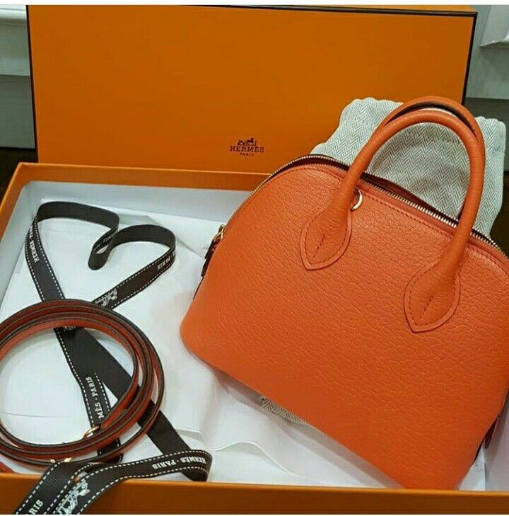 7125d195f11c Model  Hermes Mini Bolide Condition  New Stamp  A Color  Orange Leather