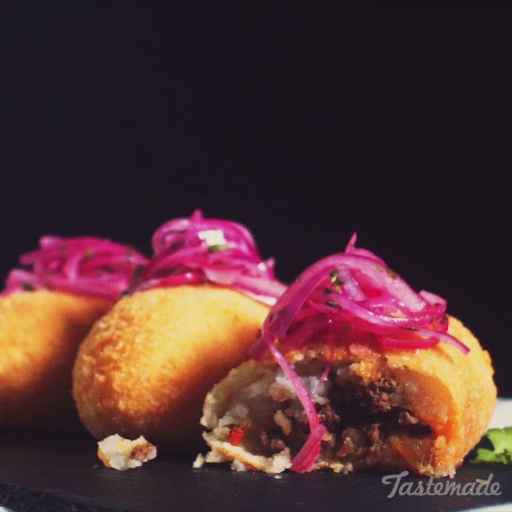 Fried mashed potato balls stuffed with seasoned beef are next-level comfort food.