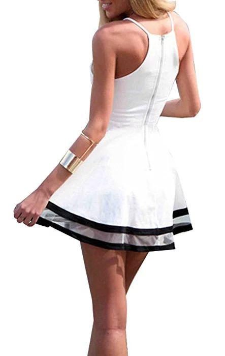 Kearia Women Sexy Deep V Neck Spaghetti Strap Pleated Ruffle Short Skater Mini Dress White1 Medium