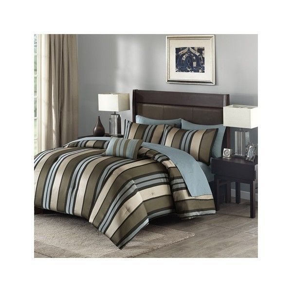 Madison Park Boden 8 Piece Comforter Set ($50) ❤ liked on Polyvore featuring home, bed & bath, bedding, comforters, multi, madison park comforter sets, queen pillow shams, madison park bedding, queen comforter and queen pillow cases