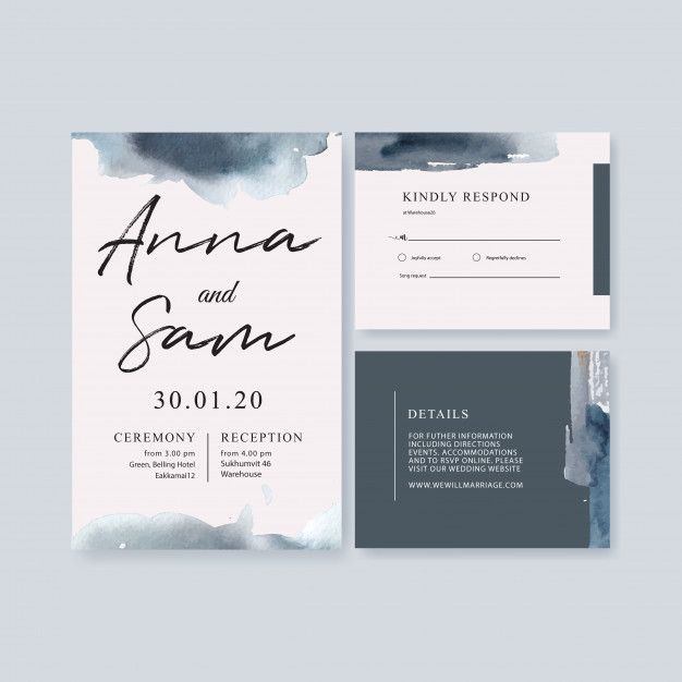 Download Watercolor Wedding Card Template With Brushstrokes For Free Wedding Cards Wedding Invitation Card Design Wedding Card Templates