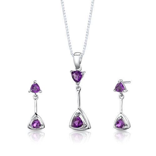 Sterling Silver Rhodium Finish 1.50 carats total weight Trillion Cut Amethyst Pendant Earrings and 18 inch Necklace Set Peora. $39.99. Save 75% Off!