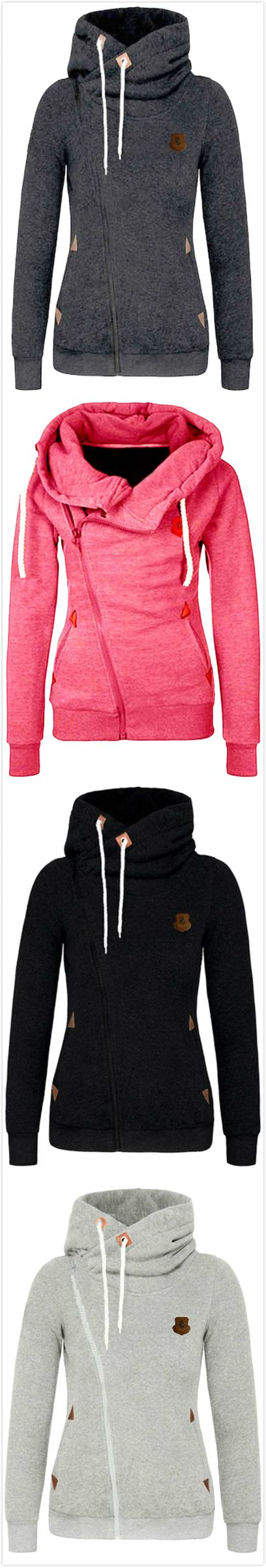 The Fashion Sweatshirt features turtleneck and drawstring design.ONLY $20.9! You deserve it at OASAP.COM , free shipping! OASAP.COM ,hot sale!