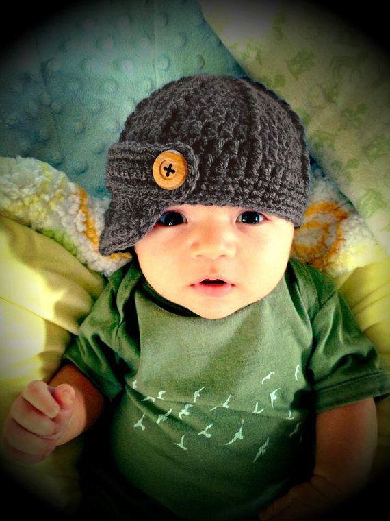 Baby Boy Hat, Baby Boy Hats, Baby Boy Hat, Crochet newborn newsboy baby boy hat, newborn infant photo prop baseball cap, baby shower gift.