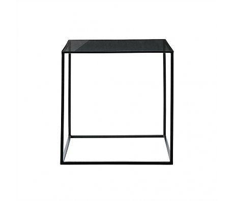 Bloomingville Bijzettafel Cube zwart glas metaal 50x50x50cm
