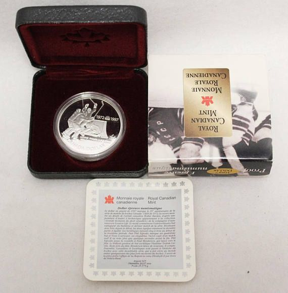 1997 Canadian 25th Anniversary 1972 Canada / Russia Hockey #Canada #Canadian #silver #dollar #coin #commemorative #hockey #for #sale
