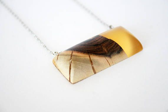 Yellow Rectangle Wood & Resin Pendant Resin Wood Necklace