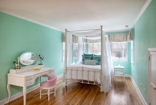 Traditional Kids Bedroom with Built-in bookshelf, Crown molding, Hardwood floors, Hillsdale Westfield Metal Canopy Bed, Full