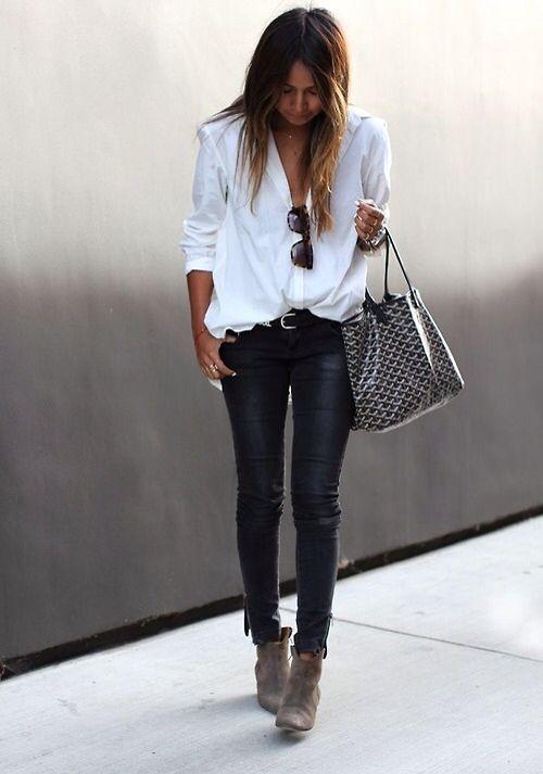 littleblackjean jbrand j+brand jbrandjeans leather+pants white+blouse simple+look street+style
